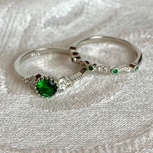 Boutique | Emerald Ring Set 925 Silver